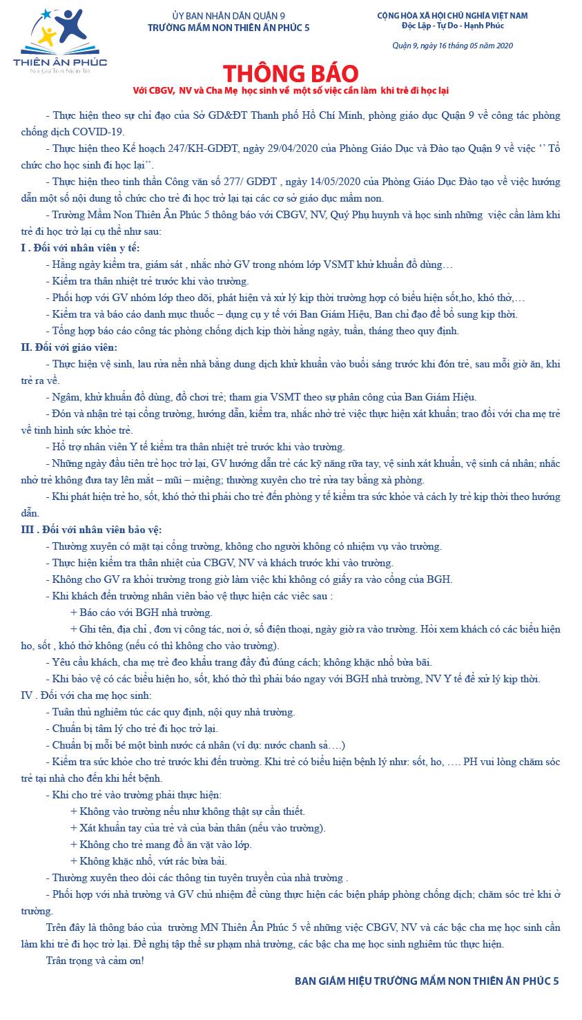 THÔNG BÁO VỀ MỘT SỐ VIỆC CẦN LÀM KHI BA MẸ ĐƯA TRẺ ĐI HỌC LẠI TẠI TRƯỜNG MẦM NON THIÊN ÂN PHÚC 5